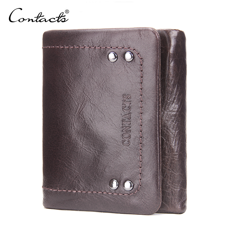 CONTACT'S Retro Design Genuine Leather Men's Wallets Head Cowhide Vintage Short 2018 Coin Purse Clutch Card Holder Wallet mens wallets black cowhide real genuine leather wallet bifold clutch coin short purse pouch id card dollar holder for gift