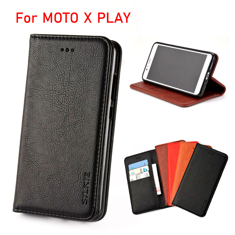 pretty nice a420c f1e10 US $4.74 5% OFF|For moto x play case Luxury Flip cover Vintage Leather with  Card Slot Without magnets Cases For Motorola moto x play funda coque-in ...