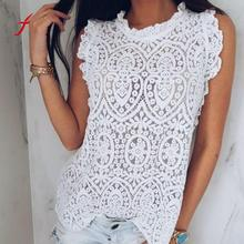Feitong Plus Size Women Blouse 2018 Summer Sexy Solid Color Lace Shirt Sleeveless Hollow out Tank Top Round Neck Blouse /PY