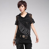 T shirt Women Summer Tops Fashion Sexy Strapless Shoulder Mesh Patchwork Turn Collar Short Sleeve Loose T shirts High Quality