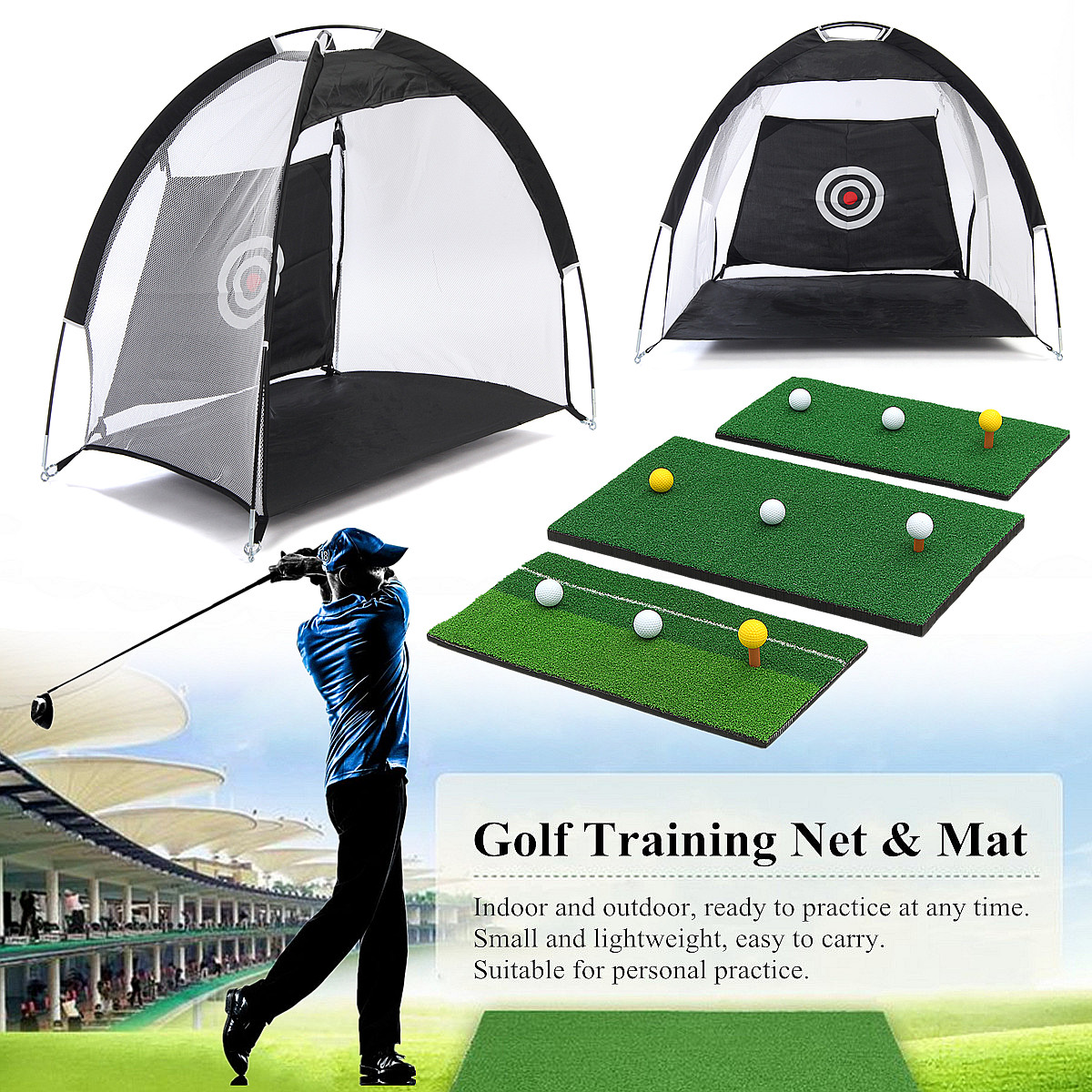 3m 1m Foldable Golf Hitting Cage Practice Net Trainer Training Aid Mat Driver Iron Black 210D