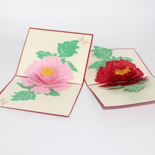 3D Laser Cut Handgemachte Luoyang Pfingstrose Blume Papier Einladung  Grußkarte Postkarte Geschäfts Hochzeit Kreative Geschenk Souvenir