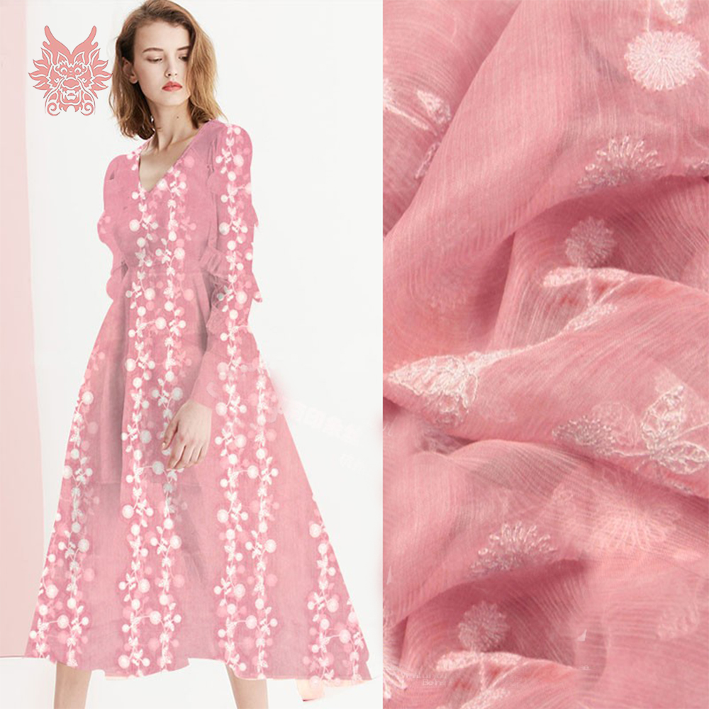Elegant white floral embroidery cotton silk fabric apparel for dress pink natural silk tissu tecidos stoffens tela 8mm SP5346