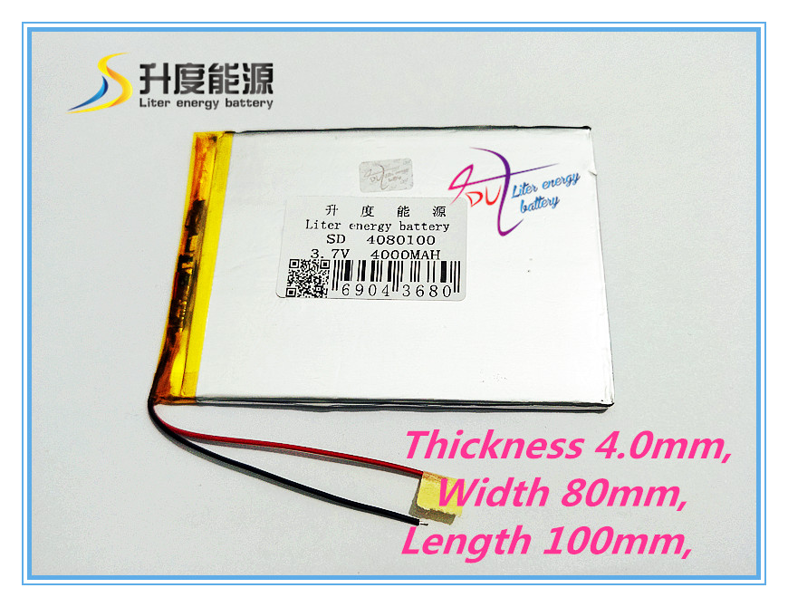 4080100 3.7V 4000MAH 408099 Battery Tablet PC tablet generic brand new lithium polymer battery free shipping 3 7 v 5000 mah tablet battery brand tablet gm lithium polymer battery 3088128
