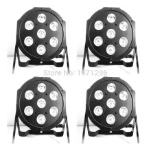 4pcs/lot good quality led par quad 7x12w wash dmx par light american dj par rgbw 4in1 dmx led flat par light led lamp