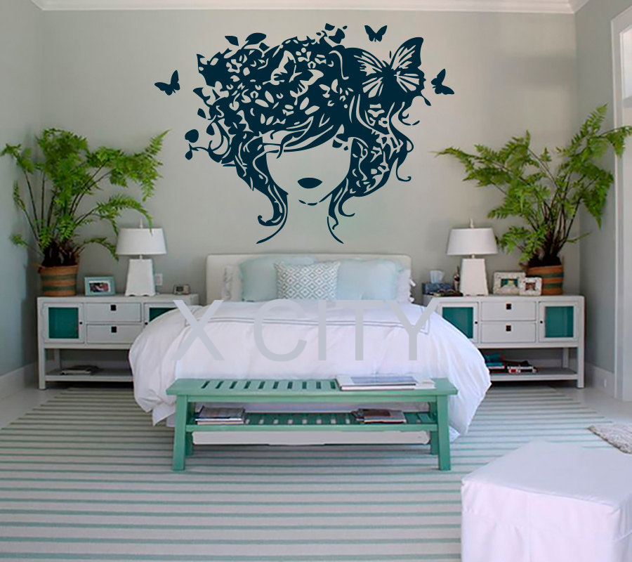 Flowers Butterfly Girl WALL ART STICKER VINYL DECAL DIE CUT WINDOW DOOR  ROOM STENCIL MURAL HOME