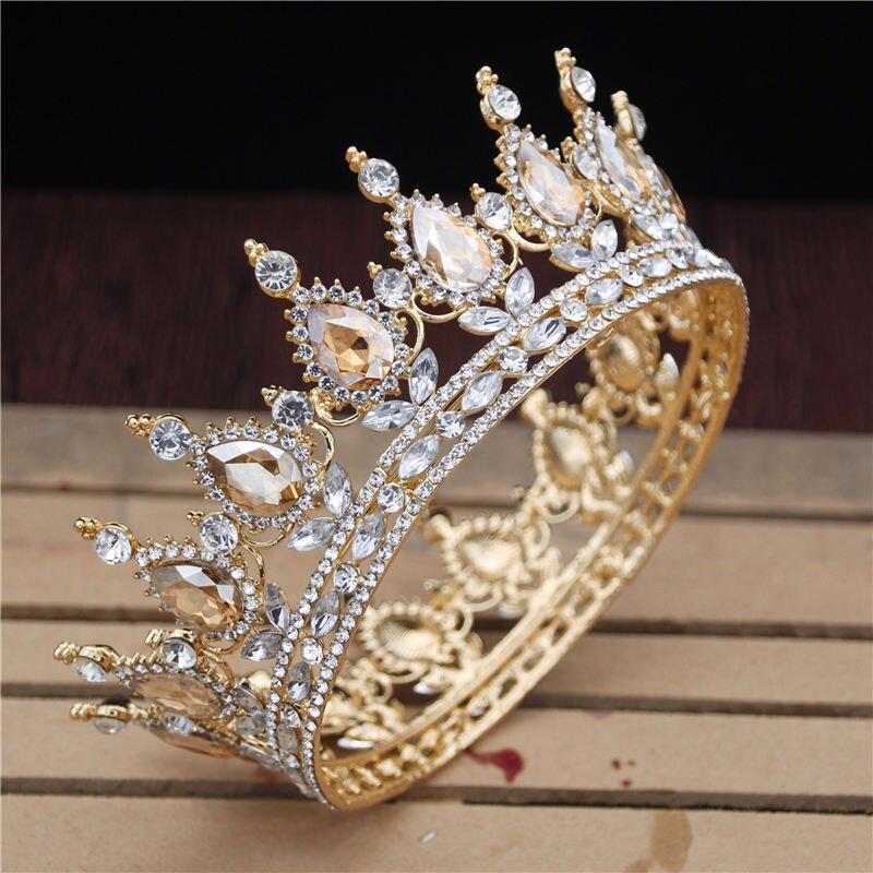 Rainha Rei Tiaras e Coroas de cristal Real Do Vintage Dos Homens/Mulheres Prom Pageant Diadema Enfeites de Cabelo Jóias Acessórios Do Cabelo Do Casamento