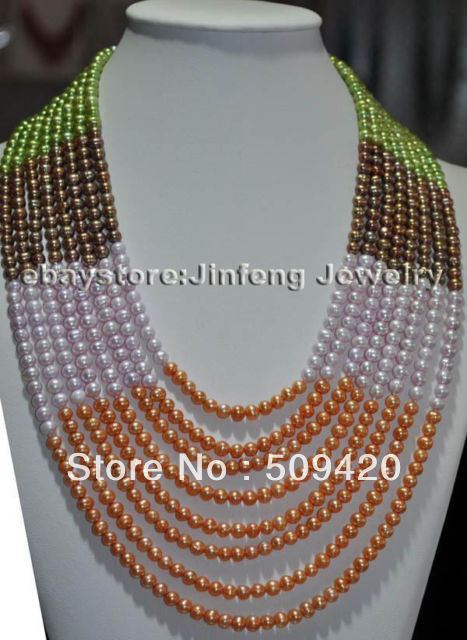 """~~ Free ShippingWOW! 17-24"""" 8rows 5mm Multicolor freshwater pearl NecklaceWOW! 17-24"""
