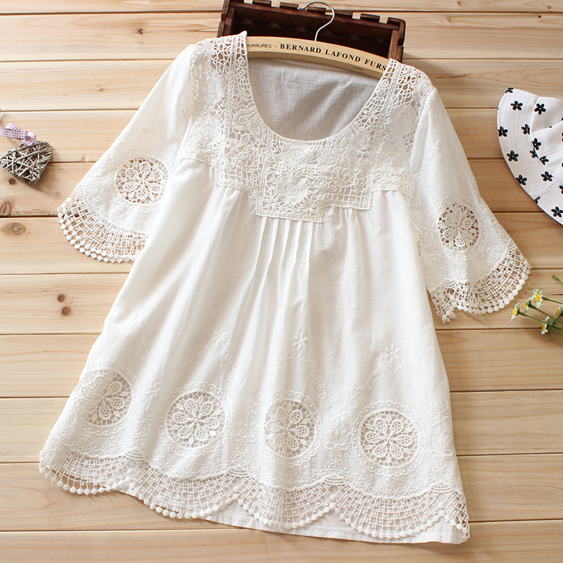 women embroidery white blouse boho tops summer lace shirt ...