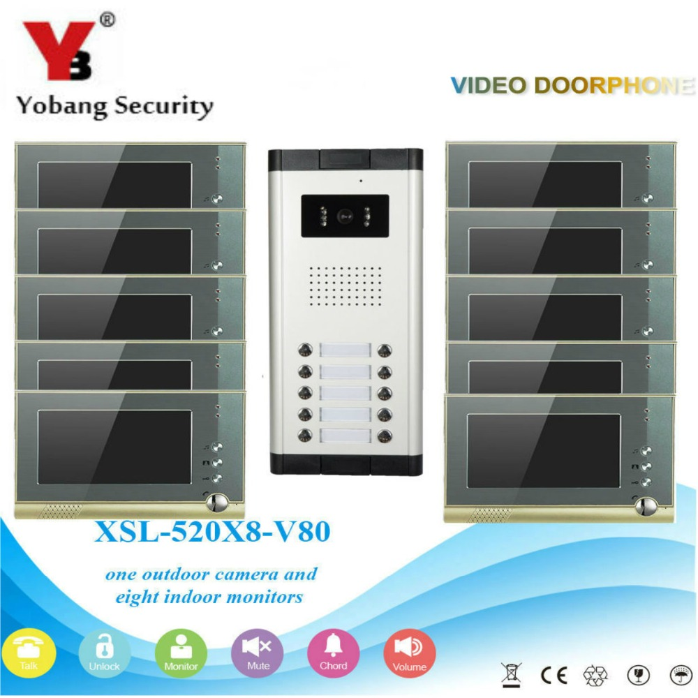 YobangSecurity Villa Apartment Eye Door bell 7TFT LCD Color Video Door Phone Doorbell Intercom System 1 Camera 10 Monitor freeship 10 door intercom security system hands free monitor color tft lcd screen intercom system video door phone for villa
