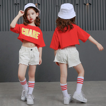 New Arrival Girls Hip Hop Dance Costume Kids Jazz Clothing Tops Pants Street Wear for Stage Ballroom 90