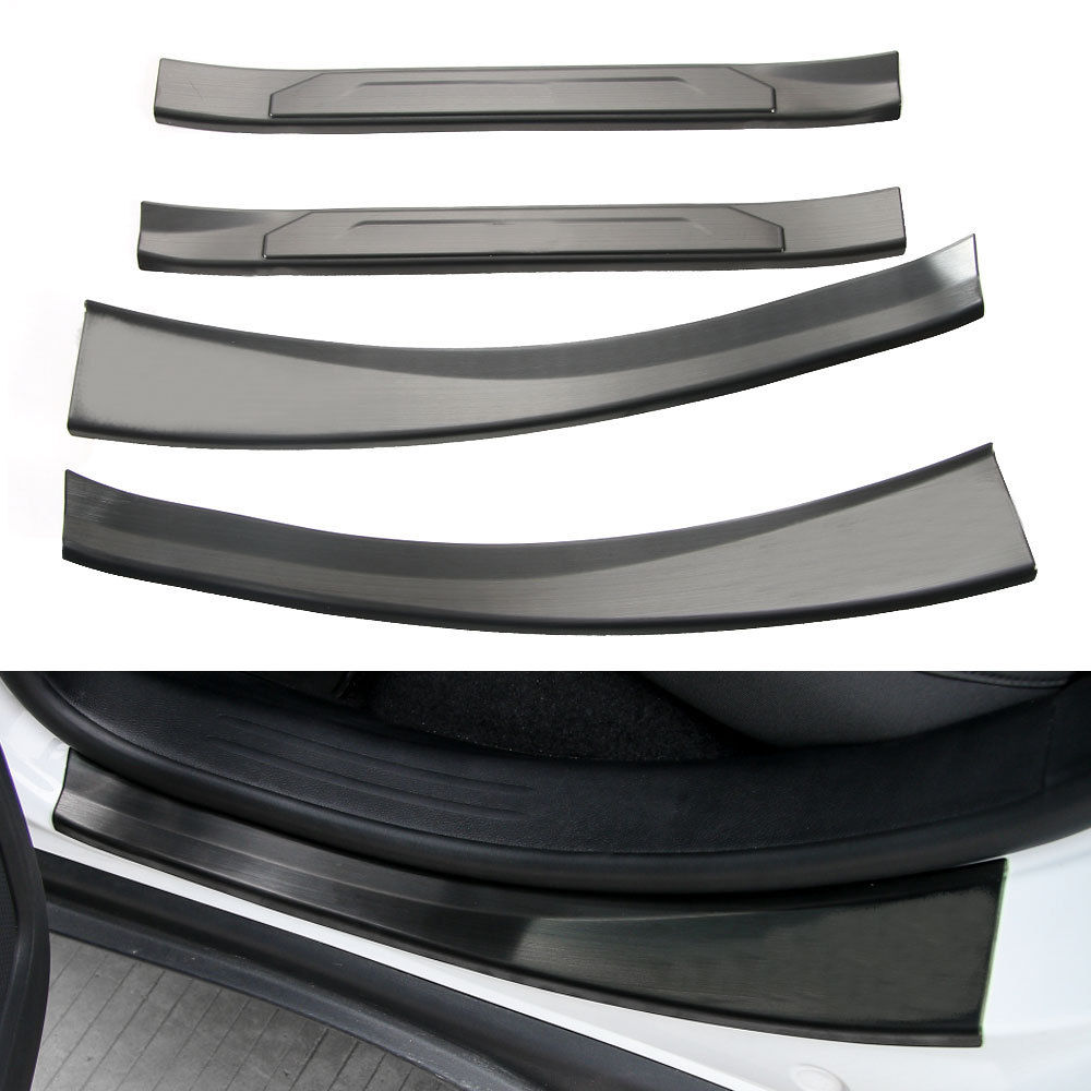 BBQ@FUKA 4x Stainless Indoor Doorsill Strips Trim Decoration Cover Black/Silver Car Styling Sticker Fit For Jeep Compass 2017 bbq fuka 2pcs car aluminum abs silver luggage carrier top roof rack cross bars fit for compass 2017 car styling car accessories