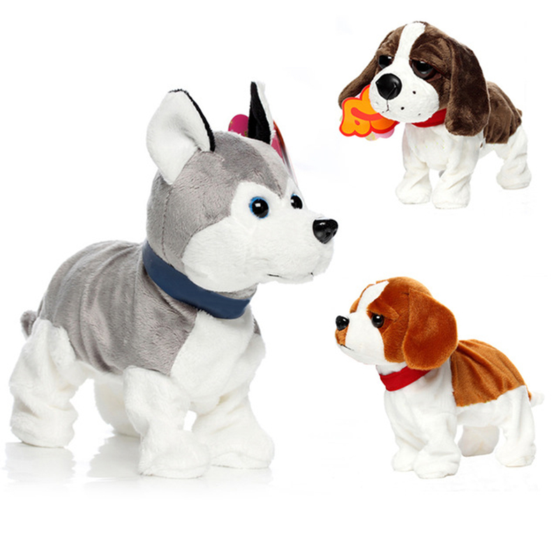 Electronic Pets Sound Control Robot Dogs Bark Stand Walk Dance Cute Interactive Dog Husky Poodle Intelligent Plush Toys For Kids