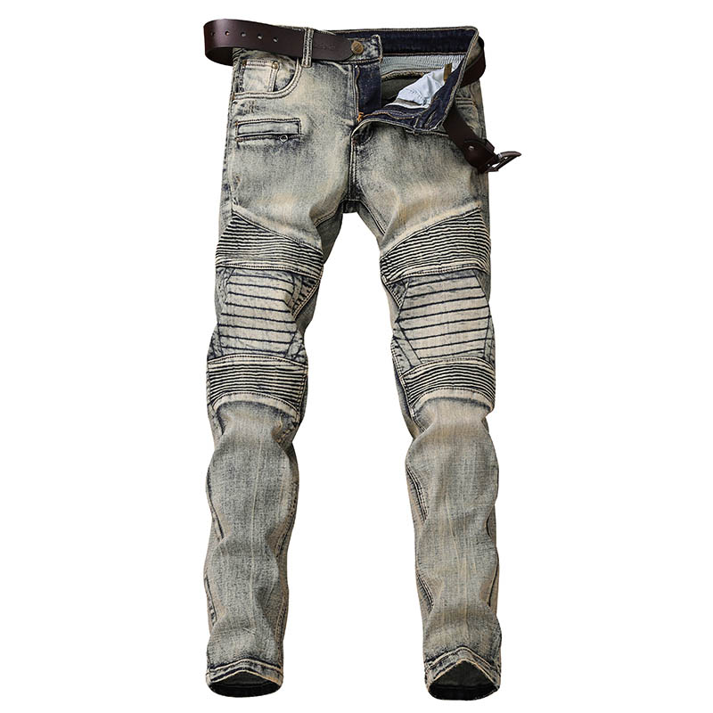 Men's Moto Biker Vintage Jeans Slim Fit Distressed  DJ Runway Designer Retro Pleated Jean for Men Street Cool Denim Pants Zipper mens skinny biker jeans runway distressed slim elastic jeans hiphop washed men a circle of zipper and side pleated black jeans