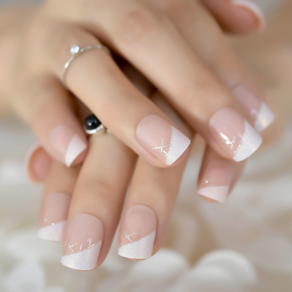 Detail Feedback Questions about Short Nude French Nail Tips Glitter ...