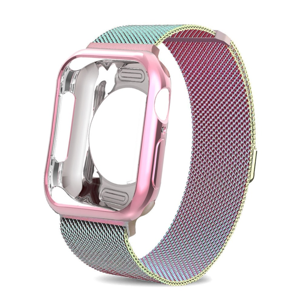 Milanese Loop Strap For Apple Watch 5 4 44mm 40mm Iwatch Band 42mm 38mm Stainless Steel Bracelet + Case For Apple Watch 4 3 21