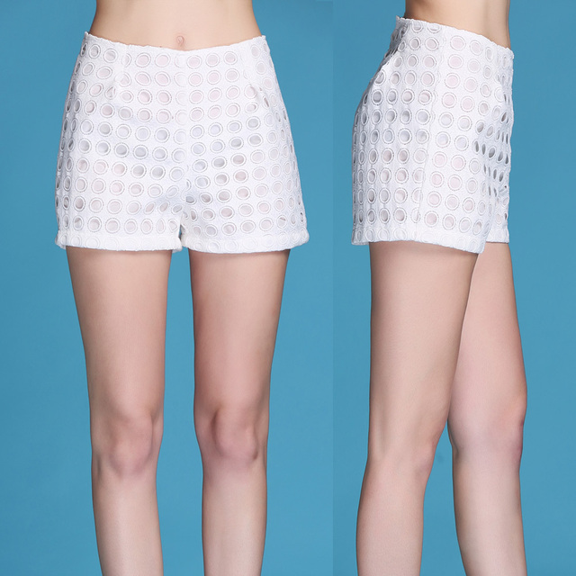 White hot short women's 2015 runway summer new arrival America and Europe fashion hollow out  all-match ladies sexy shorts