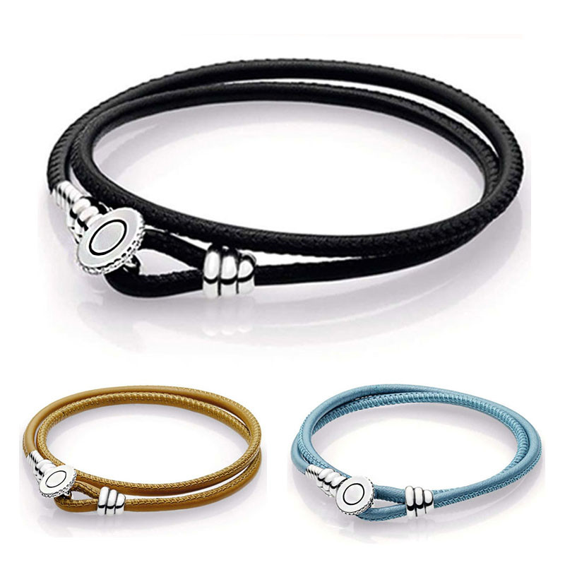 New 925 Sterling Silver Women Bead Charm Rope Fit Original Moments Black Double Leather Bracelet with Pandora Button Clasp