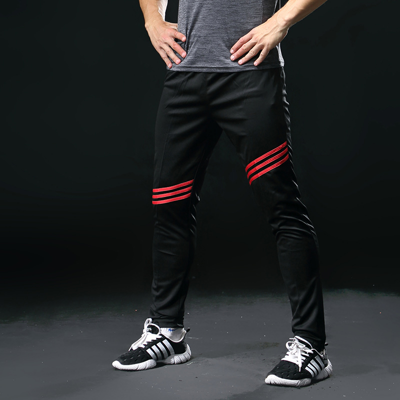 Men Running Pants Cycling Sports Leggings Bodybuilding Gym Fitness Yoga Pants Zipper Skiny Leg Football Training Pants 323