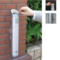 New 48cm 1.8L Aluminum Alloy Outdoor Cylinder Wall Mounted Ashtray Cigare tte Ash Bin Stainless Steel Lockable