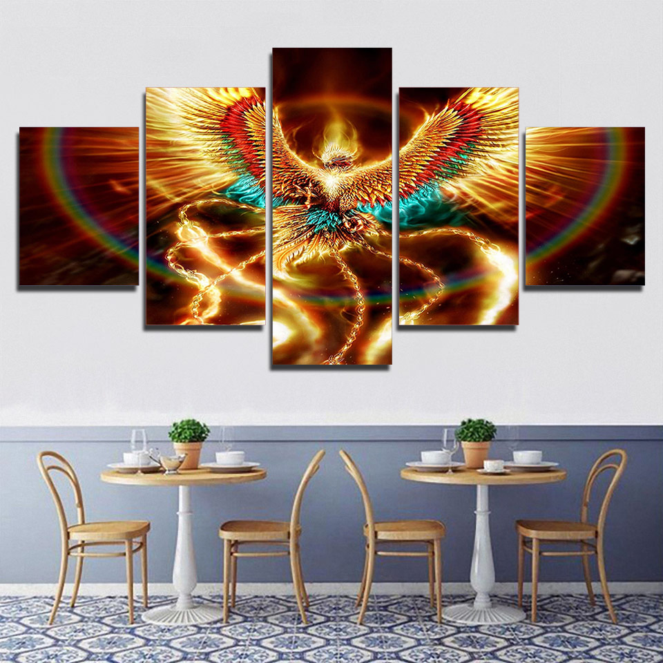 5 Piece Canvas Wall Art HD Posters And Prints Canvas Gold