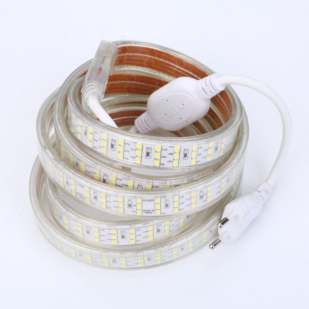 276Leds/m SMD 2835 LED Strip 220V 240V Waterproof  Three Row LED Tape Rope Light Warm White Home Decoration Lights New