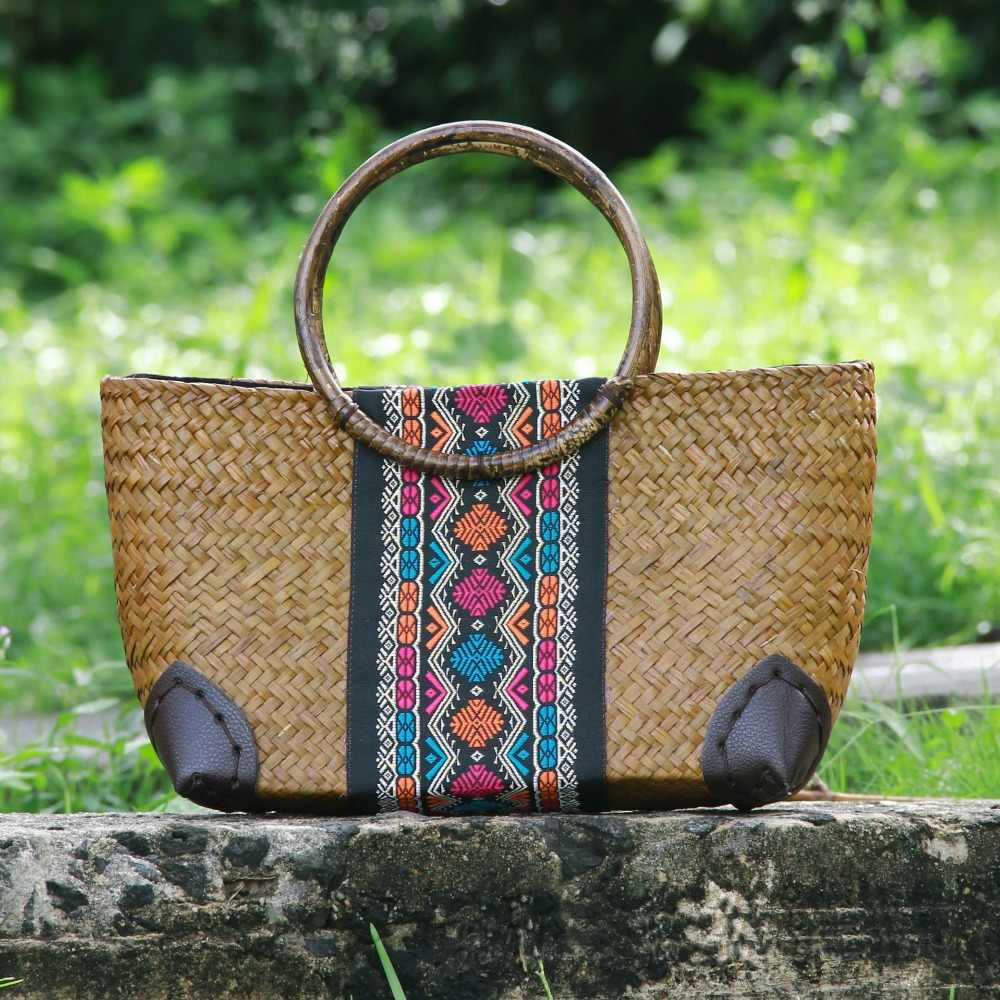 Новая соломенная сумка 2017, тайская версия женской сумки, модная винтажная сумка для вина, Пляжная упаковка