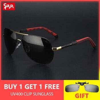 6e6afa9c3c SAYLAYO de moda gafas de sol polarizadas hombres clásico Vintage Marco de  aleación de gafas de sol lente de recubrimiento de conducción tonos UV400  ...