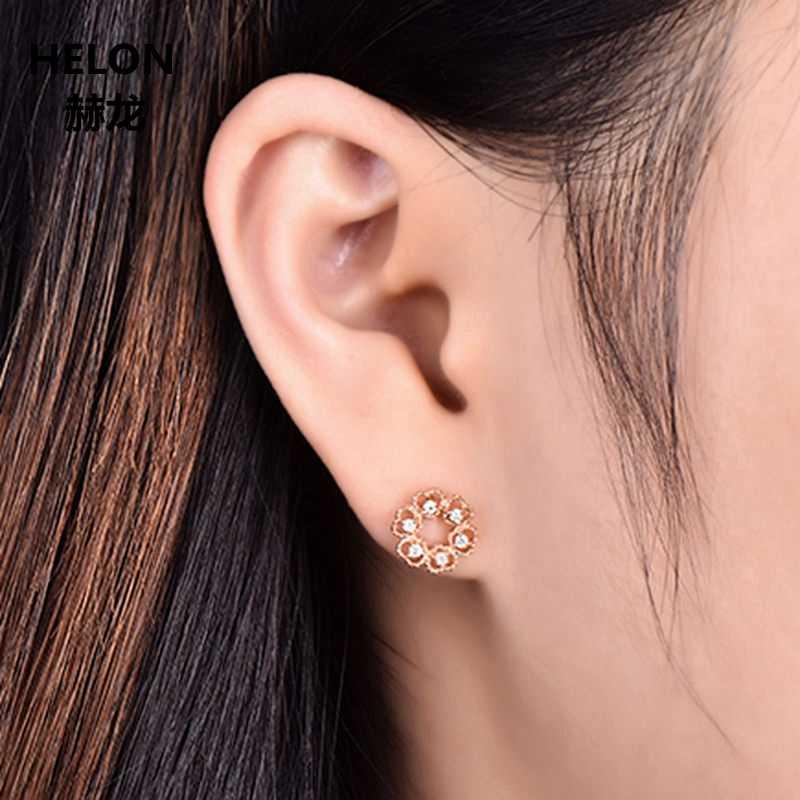 0.1ct Natürliche Diamanten Stud Ohrringe für Frauen Solide 14 k Rose Gold Herz Feine Schmuck Millgrain