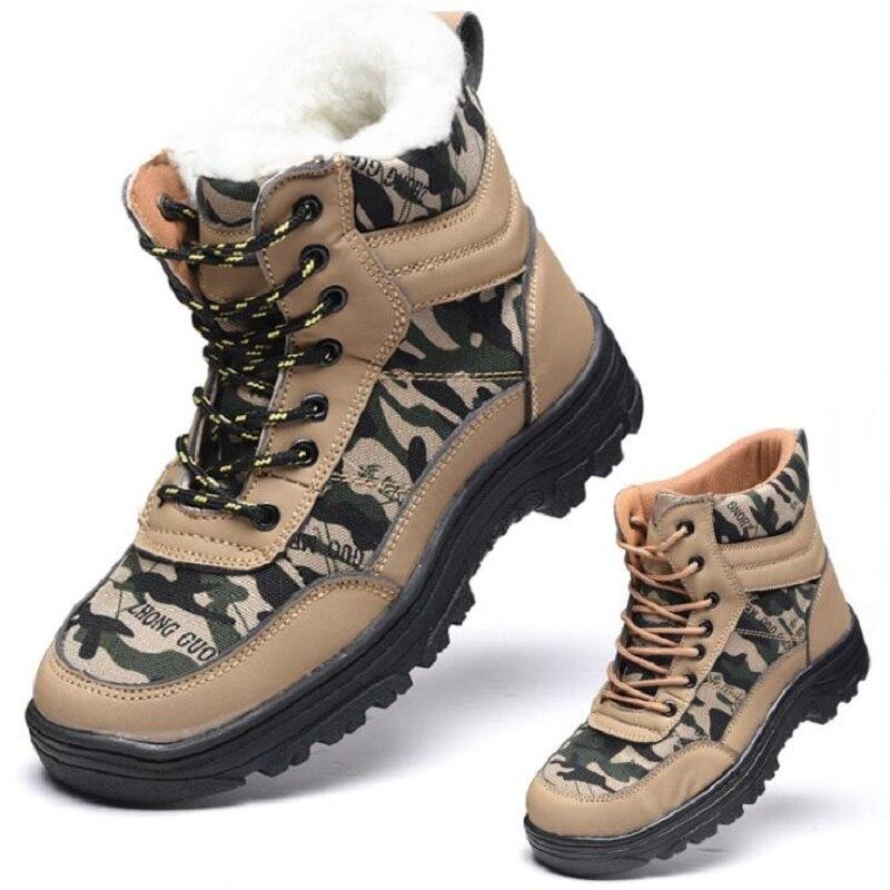 AMSHCA Construction acier orteil sécurité travail bottes hommes bottines en peluche chaussures indestructibles hommes hiver anti-crevaison Plus 46