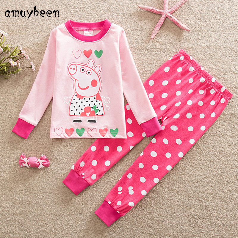 Amuybeen 2017 Cotton Girls Clothes Printed Cartoon Children Clothing Sets Fashion Baby Clothes 3 4 5 6 7 Years Costume for Kids