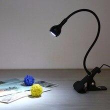 цена на USB LED Table Lamp Flexible Gooseneck Book Light Clip On Adjustable Book Reading Light Desk Table Computer Clip Lamp 1W lampara