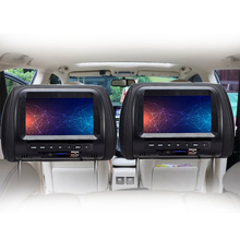 1PC 7 אינץ אוניברסלי משענת ראש מסך HD וידאו Touchable לחצן מעשי עם USB משולב רכב צג LCD מובנה ב רמקולים