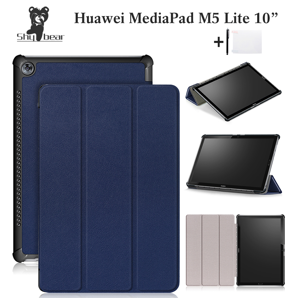 Shy Bear Painting Case For Huawei MediaPad M5 Lite10'' Case for huawei M5 Lite 10 BAH2-L09/W19 DL-A Tablet 10.1 Cover +gift silicone with bracket flat case for huawei mediapad m5 8 4 inch