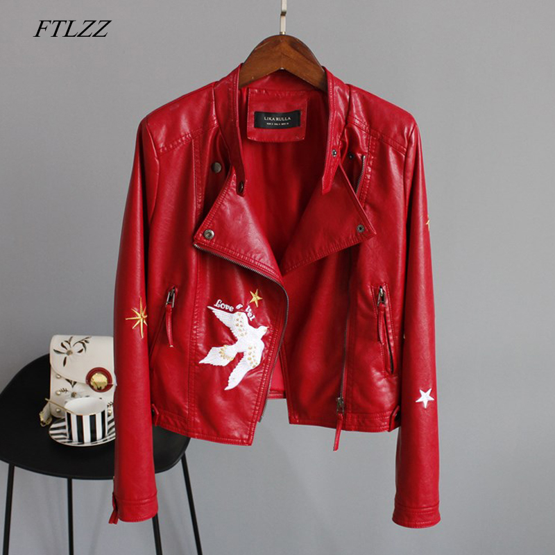 FTLZZ Faux Soft Leather Jacket Coat Women Floral Print Embroidery Pu Motorcycle Red Black Jacket Turn down Collar Punk Outerwear