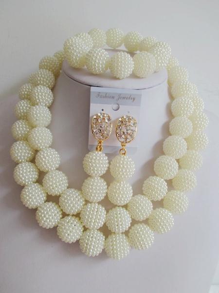 Contas africanos jóia set 2016 de casamento nigeriano africano contas de plástico branco colar de pérolas para as mulheres ABF305