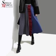 Новинка, корейский стиль, женская разноцветная плиссированная юбка в стиле пэчворк, трапециевидная, до колена, эластичная талия, женские повседневные юбки для вечеринок, 4144