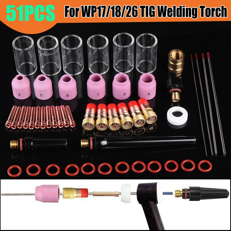 51Pcs/Set Durable 1.0mm+1.6mm+2.4m+3.2mm TIG Welding Torch Stubby Gas Lens Glass Nozzle Cup Kit For WP17/18/26 high quality 41pcs tig welding torch nozzle ring cover gas lens glass cup kit for wp17 18 26 welding accessories tool kit set