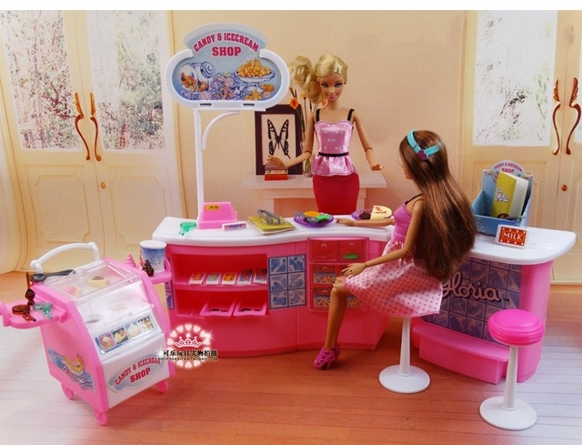 Restaurant for Barbie Princess Gift Set large luxury villa kitchen girl toy play house for children