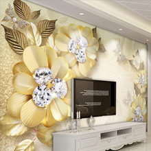 Beibehang European luxury golden diamond flower silk jewelry wall custom large mural wallpaper papel de parede para quarto