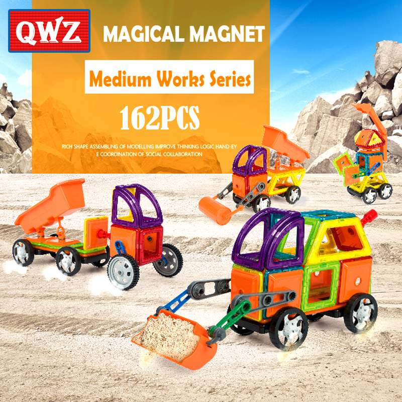 QWZ 162pcs Educational Magnetic Assemble Building Tiles DIY Blocks Bricks Construction Engineering Truck Series Toys Kids Gifts jie star engineering truck 3 kinds deformations city construction building blockstoys for boys kids educational blocks 21009