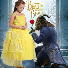 2017 movie Beauty and the Beast Belle cosplay costume kids princess Belle dress baby girls cotton Bronzing Children party dress цена