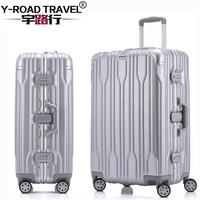 20'24'26'28' Алюминий рама Spinner багажа ручной клади cabin TSA царапинам путешествия тележки подвижного багаж чемодан колеса
