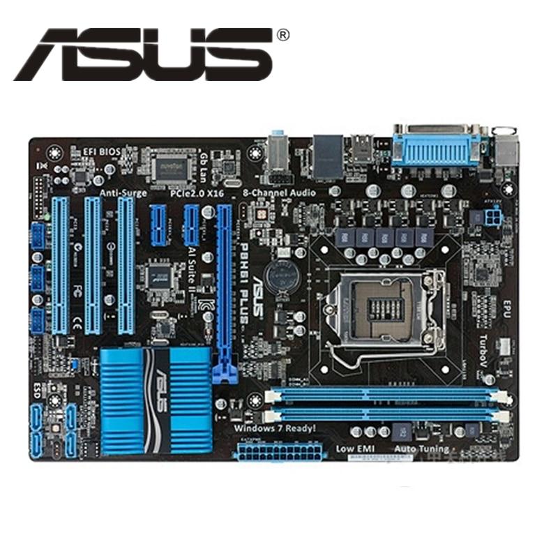 ASUS P8H61 Plus Original ASUS P8 H61 PC Motherboard Socket LGA 1155 ATX DDR3 DVI VGA USB2.0 16GB Desktop Computer Mainboard