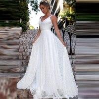Vintage Lace Beach Wedding Dresses 2019 LORIE Vestidos De Casamento Sexy Bridal Dress Backless Plus Size Wedding Dress