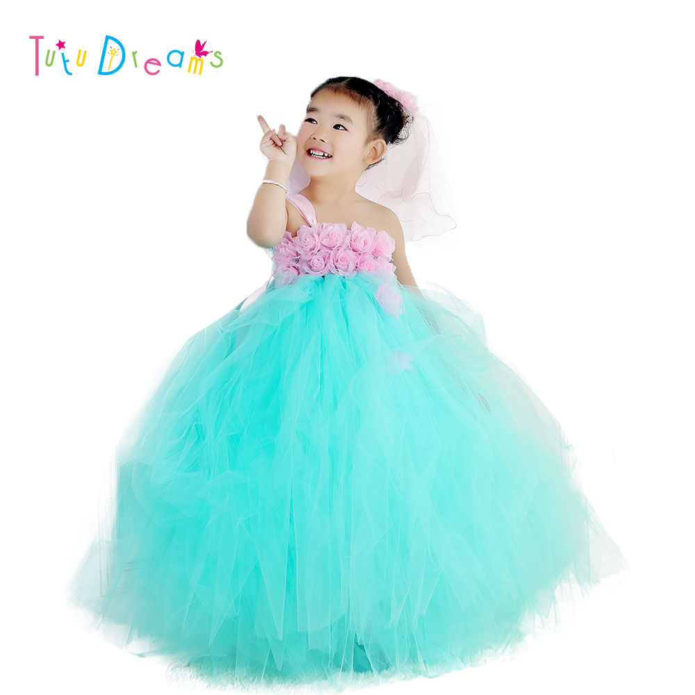 New Arrival Baby Easter Tutu Dress Mint Green With Pink Rose Flower Dresses For Birthday Party Pt36 In From Mother Kids On