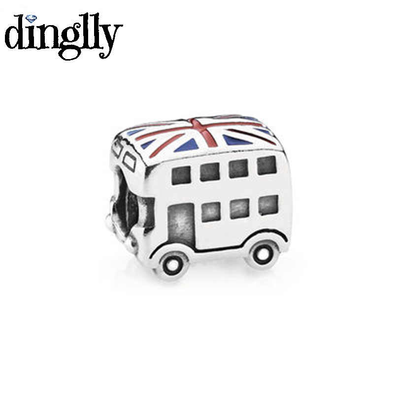 DINGLLY 2Pcs/Lot London Double Decker Bus beads Silver Color Charm Beaded decoration Fit Pandora Bracelet Bangle Jewelry Making