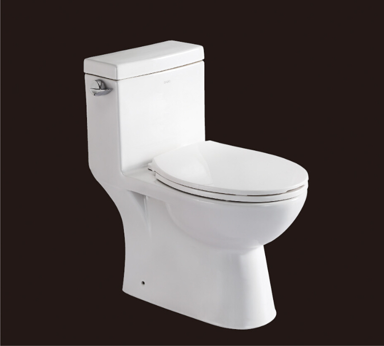 2016 hot sales water closet one-piece toilet S-trap toilets with PVC adaptor PP soft close seat AST365 UPC certificate