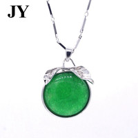 JY Fashion Silver Color Green Stone Round China Style Vintage Pendant For Women Charm Party Jewelry Woman Best Love Gift