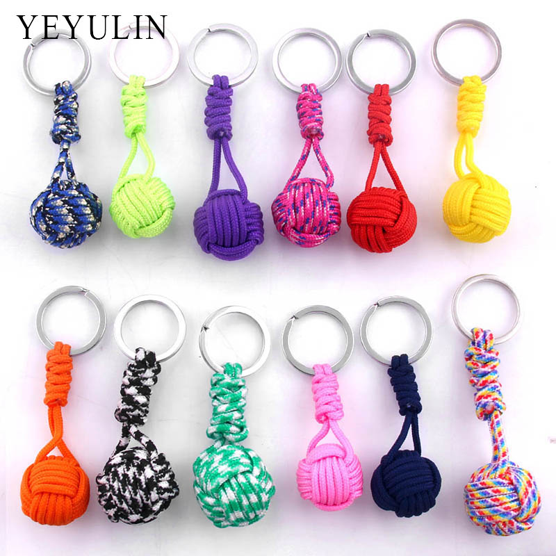 New Design Paracord Keychain Lanyard Fist Knot High Strength Parachute Cord Self-defense Emergency Survival Tool Key Ring